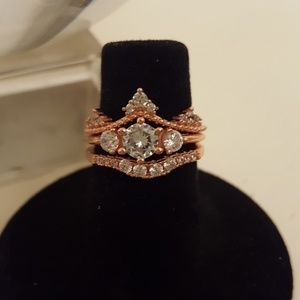 Jewelry - Rose Gold over 925 Sterling silver wedding set
